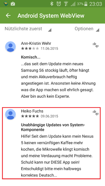 Witzige Android-Update-Bewertung