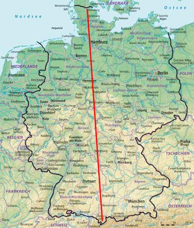 """Deutschland-Tour """"Flensburg - Oberstdorf"""" (Luftlinie)"""